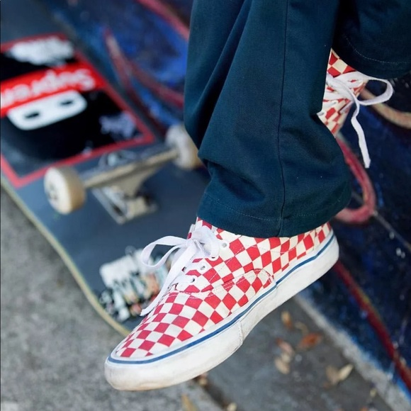 fb0f165ba3 Vans Men s Era Pro Checkerboard Rococo Red